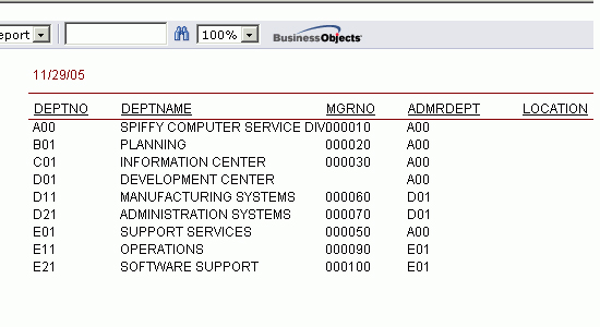 JSP Crystal Reports helper sample image